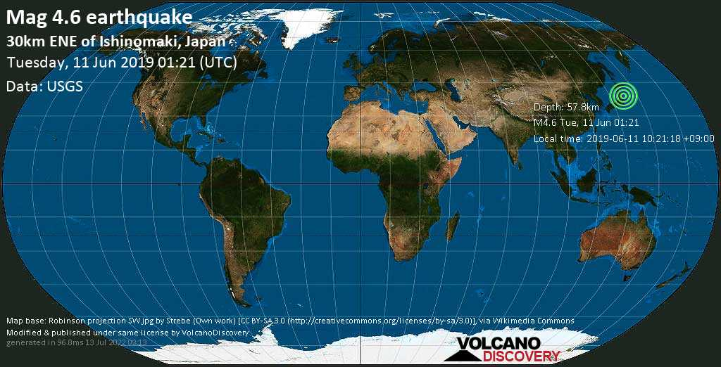 Light mag. 4.6 earthquake  - 30km ENE of Ishinomaki, Japan on Tuesday, 11 June 2019