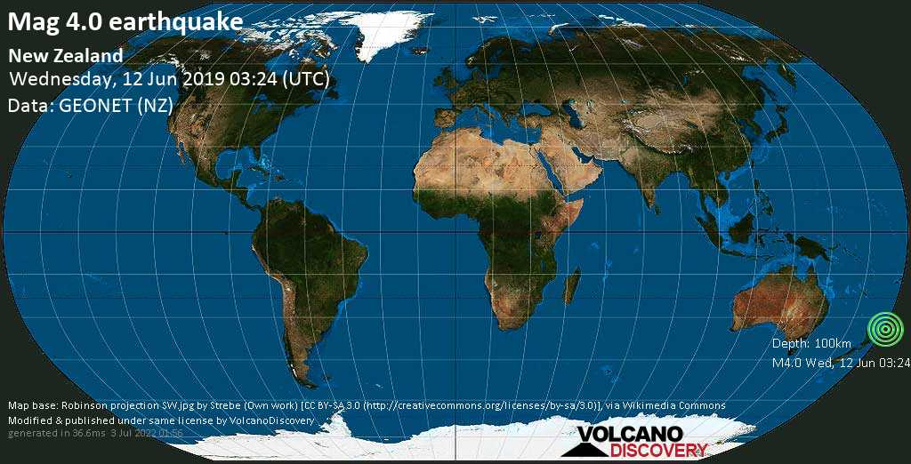 Light mag. 4.0 earthquake  - New Zealand on Wednesday, 12 June 2019