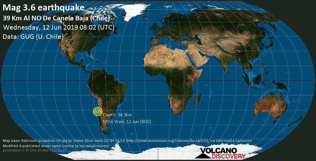 Minor mag. 3.6 earthquake  - 39 km al NO de Canela Baja (Chile) on Wednesday, 12 June 2019