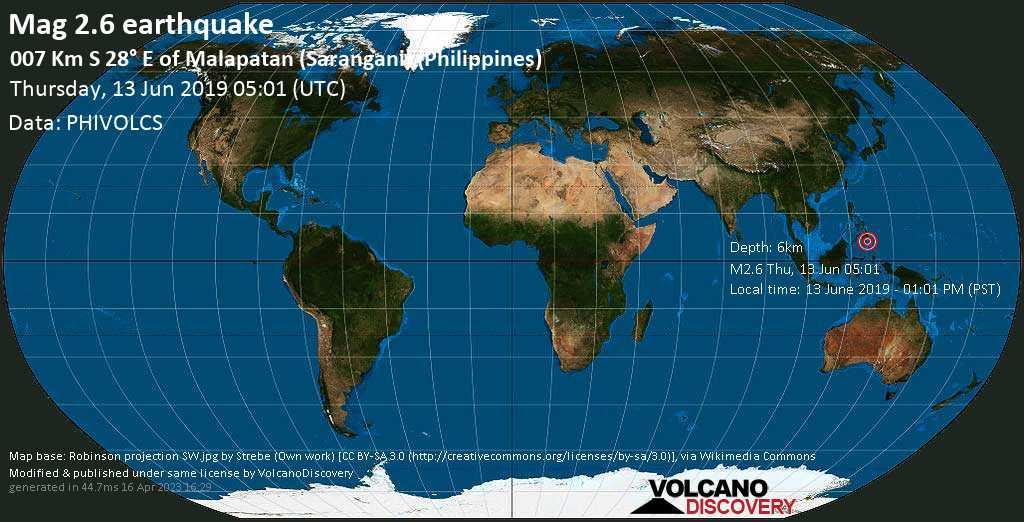 Minor mag. 2.6 earthquake  - 007 km S 28° E of Malapatan (Sarangani) (Philippines) on Thursday, 13 June 2019