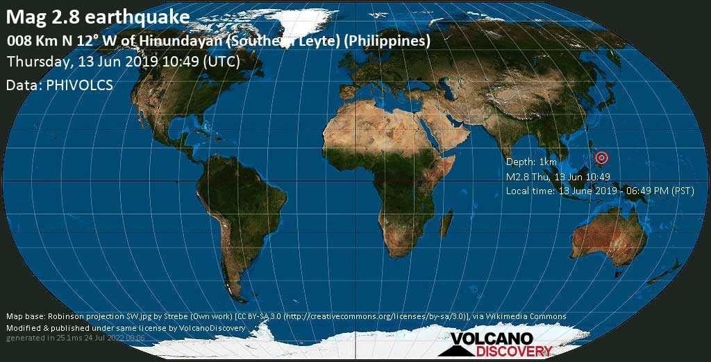 Minor mag. 2.8 earthquake  - 008 km N 12° W of Hinundayan (Southern Leyte) (Philippines) on Thursday, 13 June 2019