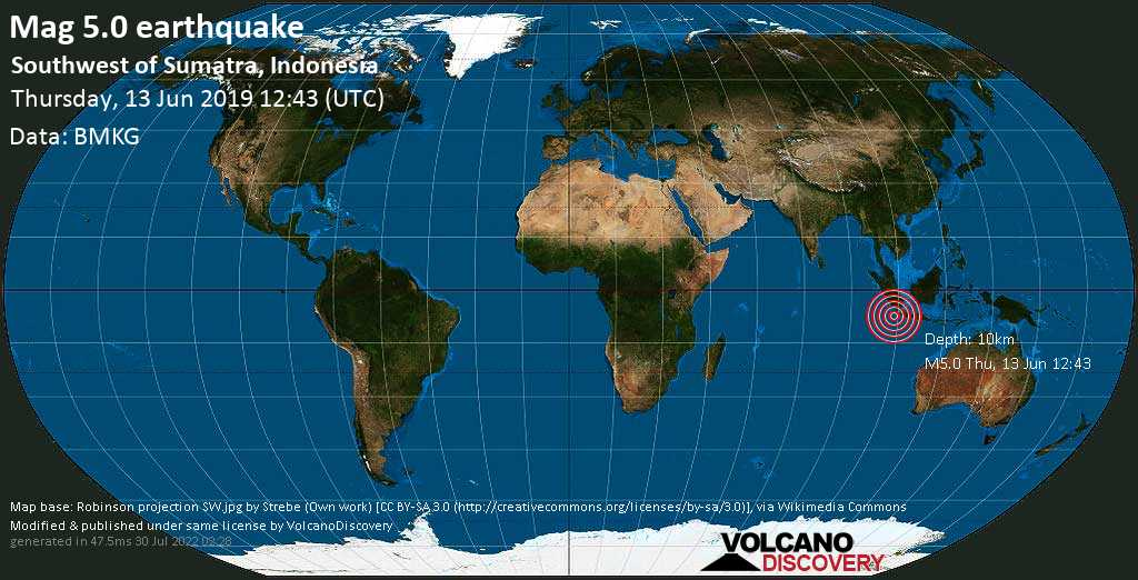 Moderate mag. 5.0 earthquake  - Southwest of Sumatra, Indonesia on Thursday, 13 June 2019