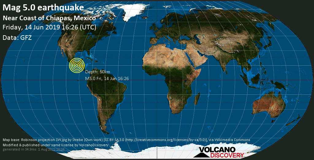 Moderate mag. 5.0 earthquake  - Near Coast of Chiapas, Mexico on Friday, 14 June 2019