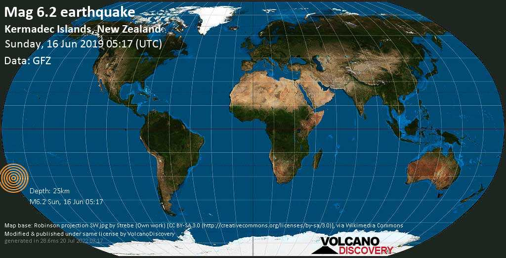 Strong mag. 6.2 earthquake  - Kermadec Islands, New Zealand on Sunday, 16 June 2019