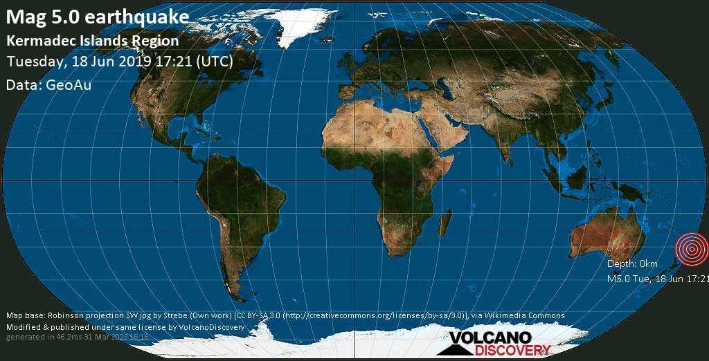Moderate mag. 5.0 earthquake  - Kermadec Islands Region on Tuesday, 18 June 2019