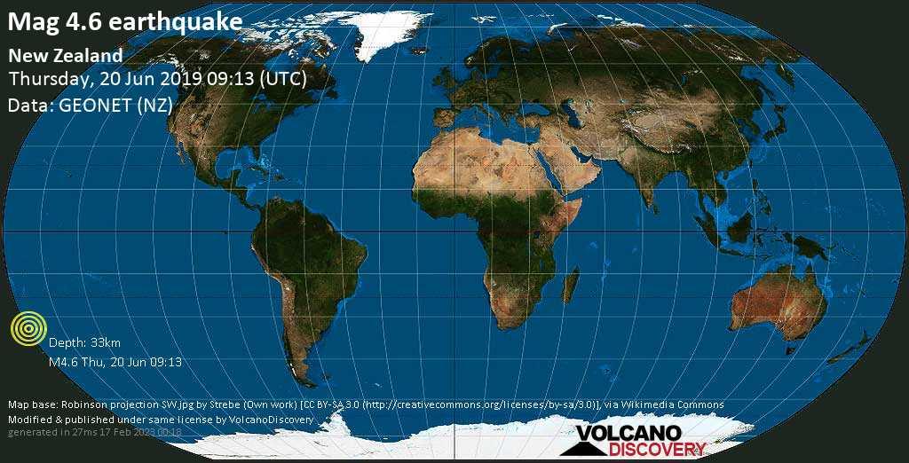 Light mag. 4.6 earthquake  - New Zealand on Thursday, 20 June 2019