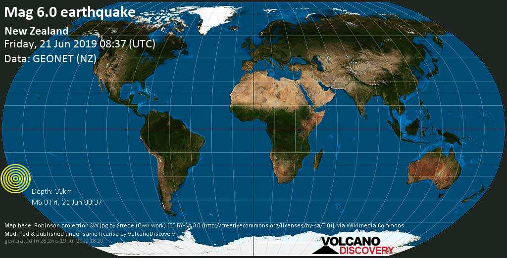 Strong mag. 6.0 earthquake  - New Zealand on Friday, 21 June 2019