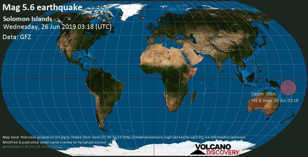 Moderate mag. 5.6 earthquake  - Solomon Islands on Wednesday, 26 June 2019