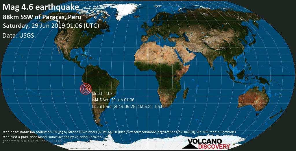 Light mag. 4.6 earthquake  - 88km SSW of Paracas, Peru on Saturday, 29 June 2019