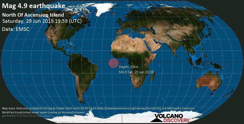 Light mag. 4.9 earthquake  - North Of Ascension Island on Saturday, 29 June 2019