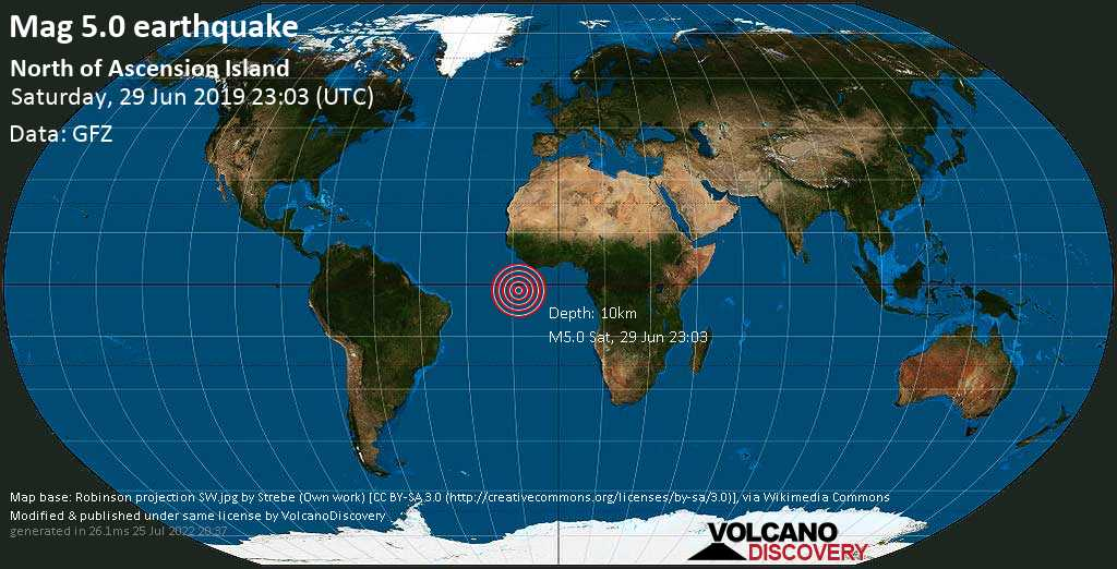 Moderate mag. 5.0 earthquake  - North of Ascension Island on Saturday, 29 June 2019