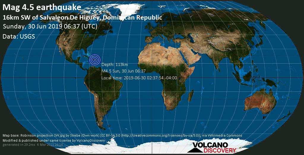 Leichtes Erdbeben der Stärke 4.5 - 16km SW of Salvaleon de Higuey, Dominican Republic am Sonntag, 30. Jun. 2019
