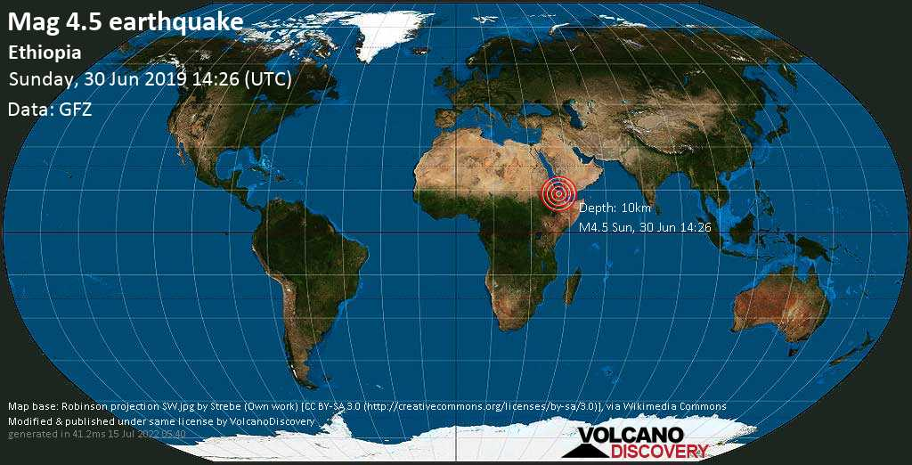 Light mag. 4.5 earthquake  - Ethiopia on Sunday, 30 June 2019