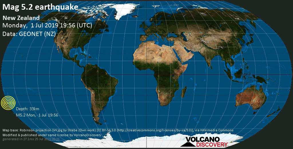 Moderate mag. 5.2 earthquake  - New Zealand on Monday, 1 July 2019