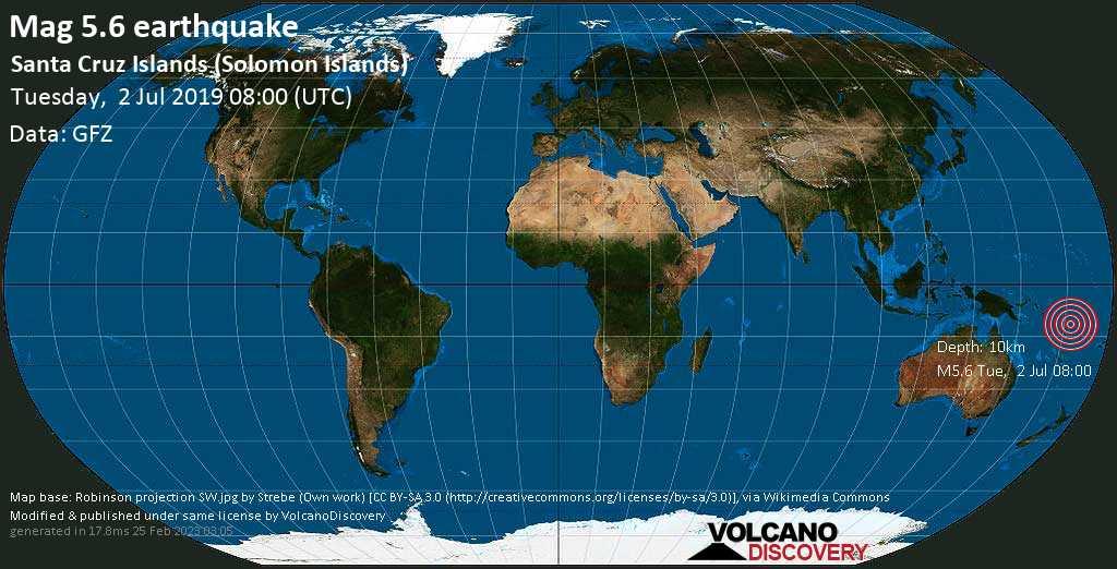 Moderato terremoto magnitudine 5.6 - Santa Cruz Islands (Solomon Islands) martedí, 02 luglio 2019