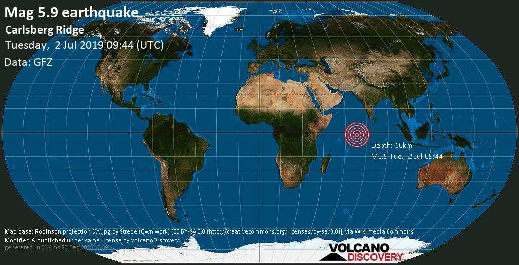 Moderate mag. 5.9 earthquake  - Carlsberg Ridge on Tuesday, 2 July 2019