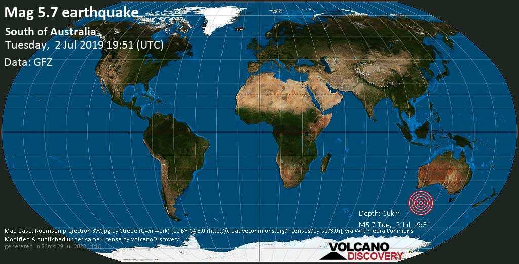 Moderate mag. 5.7 earthquake  - South of Australia on Tuesday, 2 July 2019