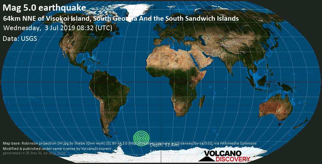 Moderate mag. 5.0 earthquake  - 64km NNE of Visokoi Island, South Georgia and the South Sandwich Islands on Wednesday, 3 July 2019