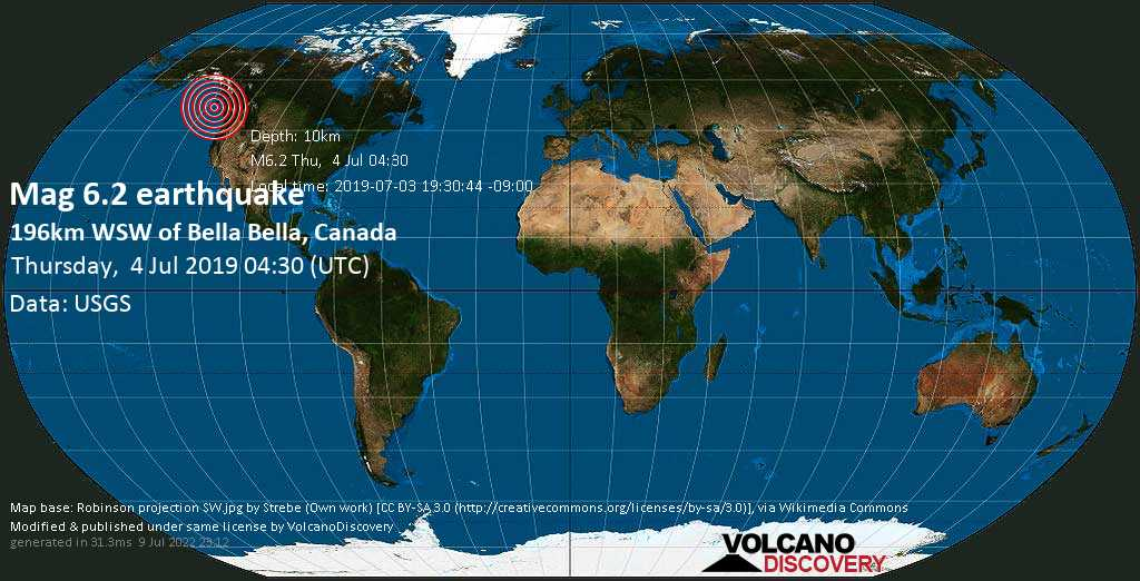Strong mag. 6.2 earthquake  - 196km WSW of Bella Bella, Canada on Thursday, 4 July 2019