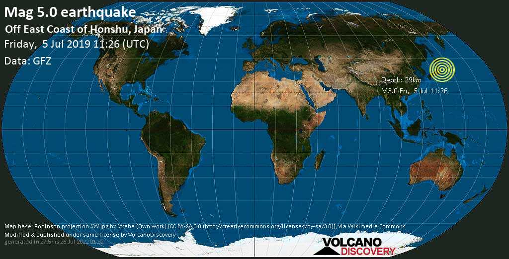 Moderate mag. 5.0 earthquake  - Off East Coast of Honshu, Japan on Friday, 5 July 2019