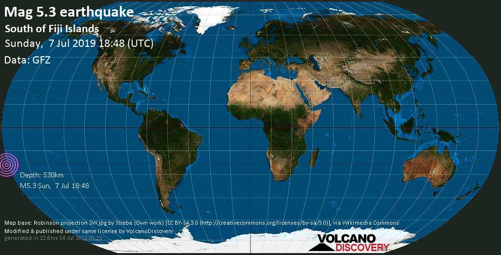 Moderate mag. 5.3 earthquake  - South of Fiji Islands on Sunday, 7 July 2019