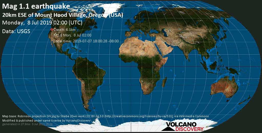 Minor mag. 1.1 earthquake  - 20km ESE of Mount Hood Village, Oregon (USA) on Monday, 8 July 2019