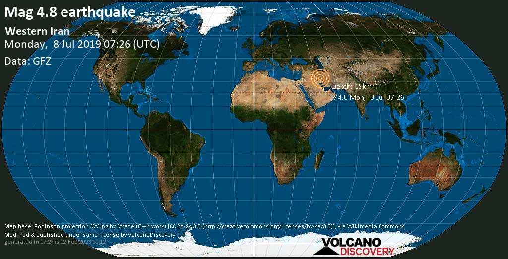 Leggero terremoto magnitudine 4.8 - Western Iran lunedí, 08 luglio 2019