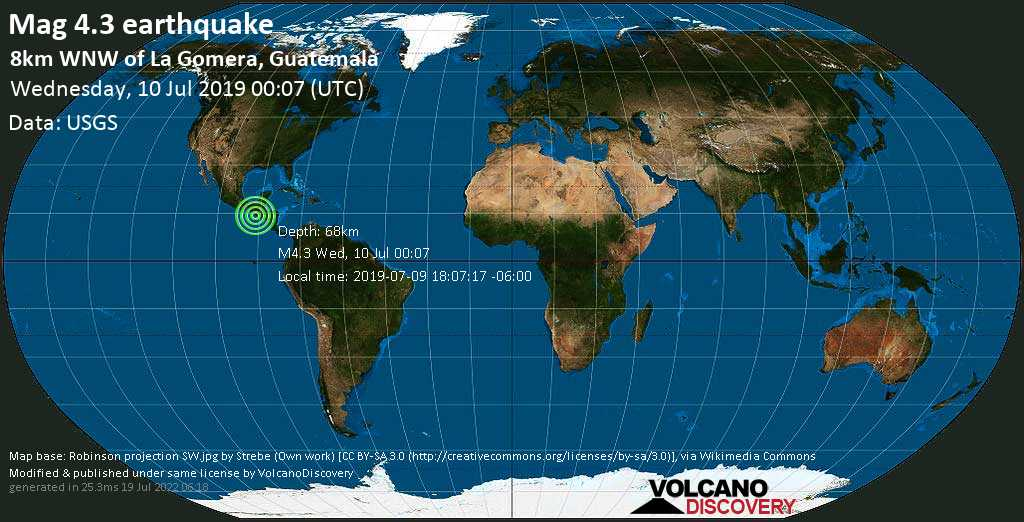 Light mag. 4.3 earthquake  - 8km WNW of La Gomera, Guatemala on Wednesday, 10 July 2019