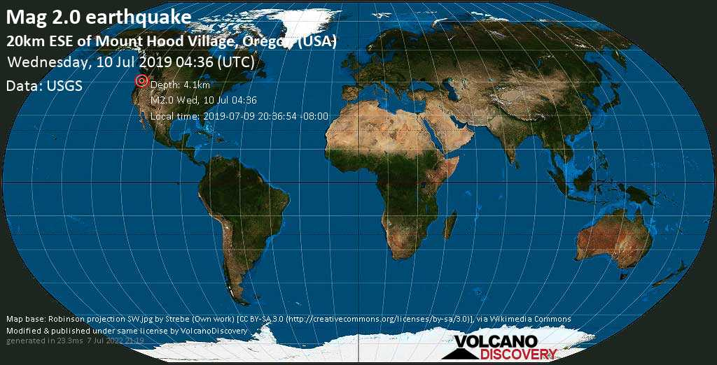 Debile terremoto magnitudine 2.0 - 20km ESE of Mount Hood Village, Oregon (USA) mercoledí, 10 luglio 2019