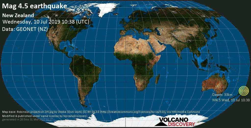 Light mag. 4.5 earthquake  - New Zealand on Wednesday, 10 July 2019