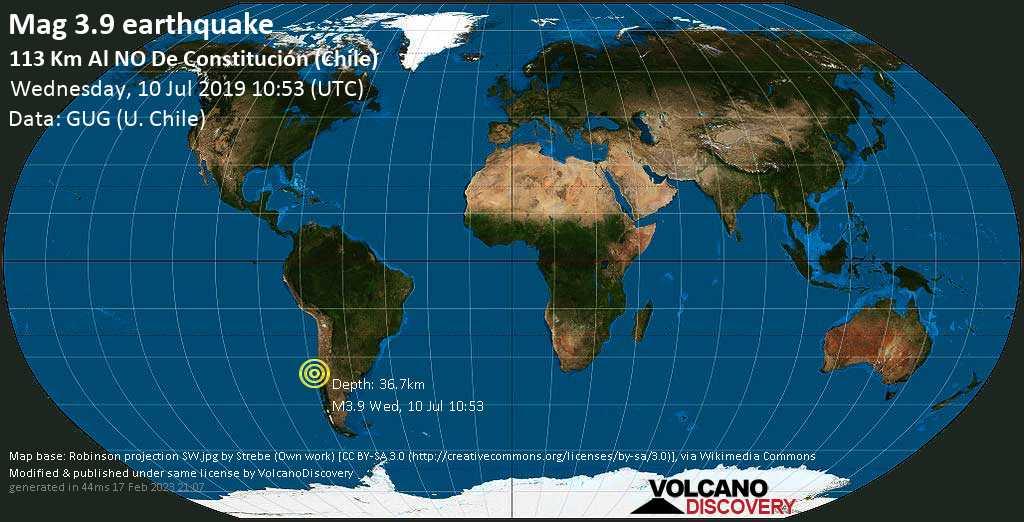 Schwaches Erdbeben der Stärke 3.9 - 113 km al NO de Constitución (Chile) am Mittwoch, 10. Jul. 2019