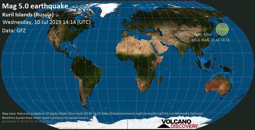 Moderado terremoto magnitud 5.0 - Kuril Islands (Russia) miércoles, 10 jul. 2019