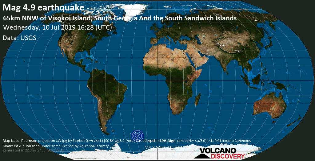 Light mag. 4.9 earthquake  - 65km NNW of Visokoi Island, South Georgia and the South Sandwich Islands on Wednesday, 10 July 2019