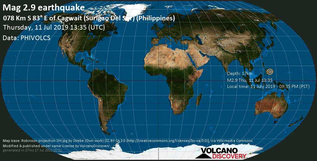Minor mag. 2.9 earthquake  - 078 km S 83° E of Cagwait (Surigao Del Sur) (Philippines) on Thursday, 11 July 2019