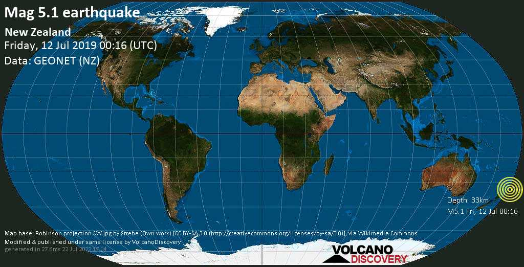 Moderate mag. 5.1 earthquake  - New Zealand on Friday, 12 July 2019