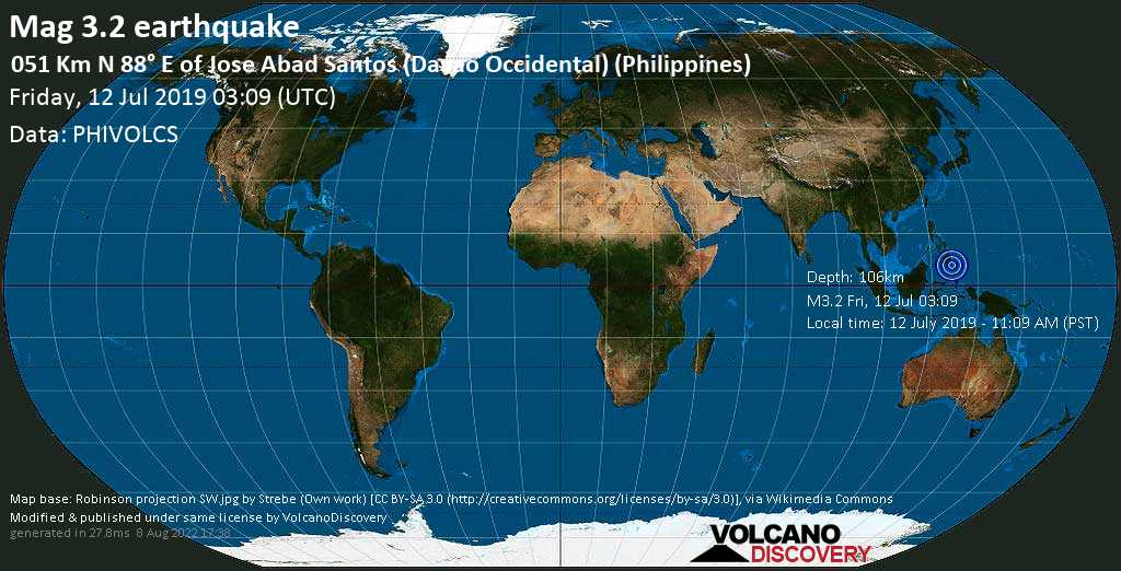 Minor mag. 3.2 earthquake  - 051 km N 88° E of Jose Abad Santos (Davao Occidental) (Philippines) on Friday, 12 July 2019