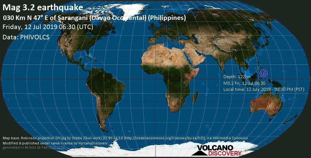 Minor mag. 3.2 earthquake  - 030 km N 47° E of Sarangani (Davao Occidental) (Philippines) on Friday, 12 July 2019