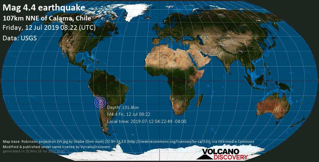 Light mag. 4.4 earthquake  - 107km NNE of Calama, Chile on Friday, 12 July 2019