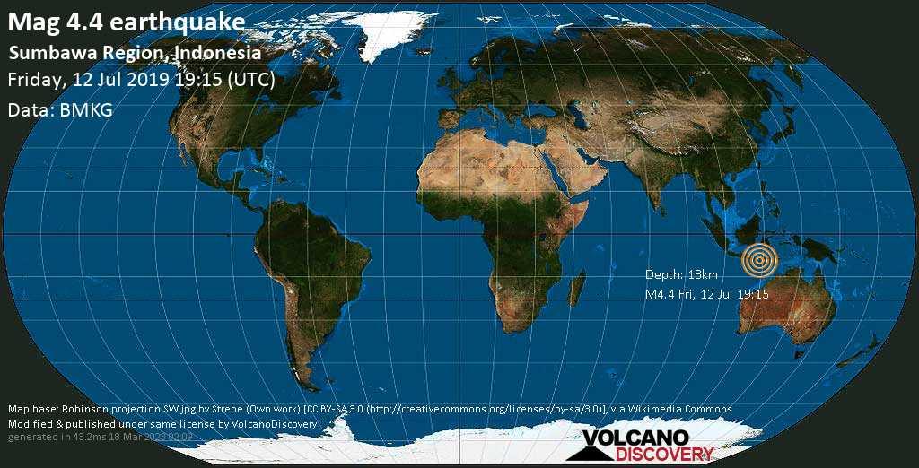 Light mag. 4.4 earthquake  - Sumbawa Region, Indonesia on Friday, 12 July 2019