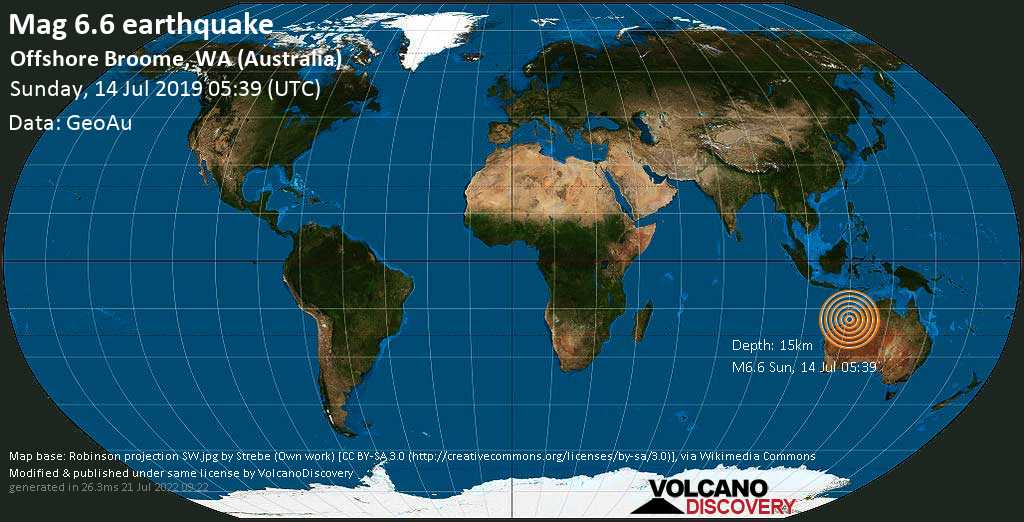 Strong mag. 6.6 earthquake  - Offshore Broome, WA (Australia) on Sunday, 14 July 2019
