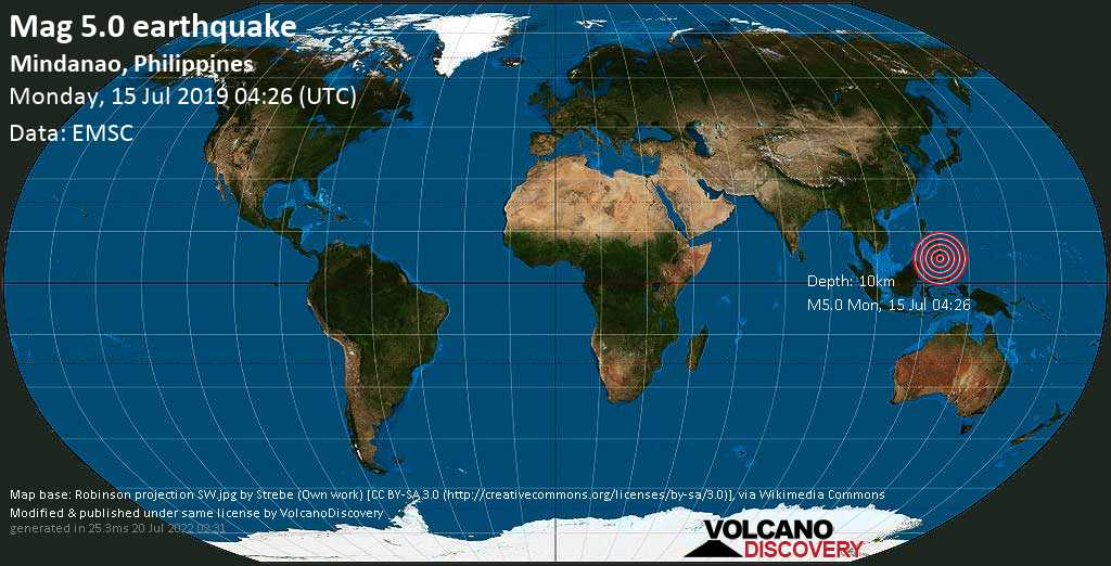 Moderate mag. 5.0 earthquake  - Mindanao, Philippines on Monday, 15 July 2019
