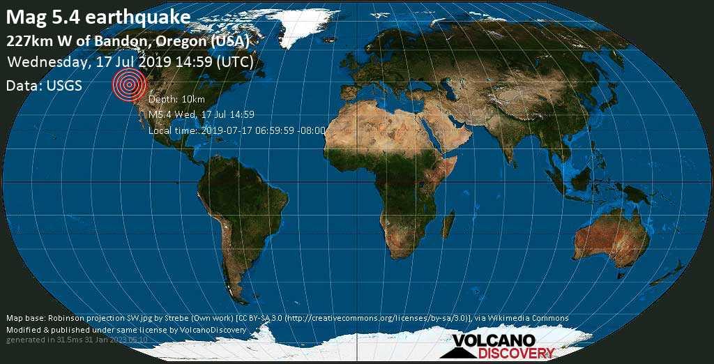 Moderate mag. 5.4 earthquake  - 227km W of Bandon, Oregon (USA) on Wednesday, 17 July 2019