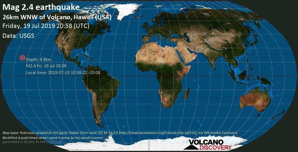 Debile terremoto magnitudine 2.4 - 26km WNW of Volcano, Hawaii (USA) venerdí, 19 luglio 2019