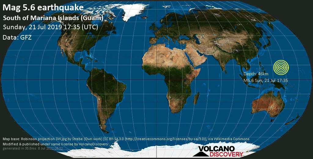 Moderate mag. 5.6 earthquake  - South of Mariana Islands (Guam) on Sunday, 21 July 2019