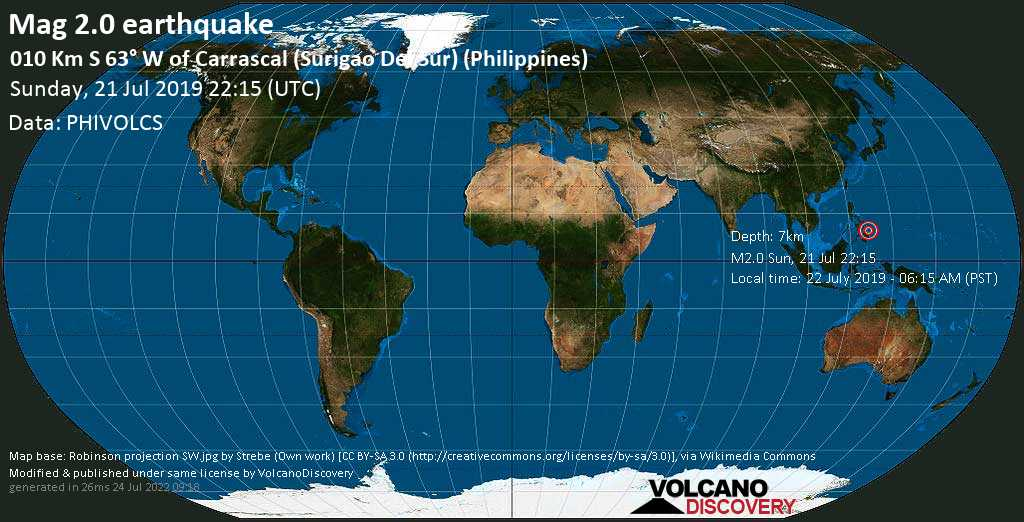 Minor mag. 2.0 earthquake  - 010 km S 63° W of Carrascal (Surigao Del Sur) (Philippines) on Sunday, 21 July 2019