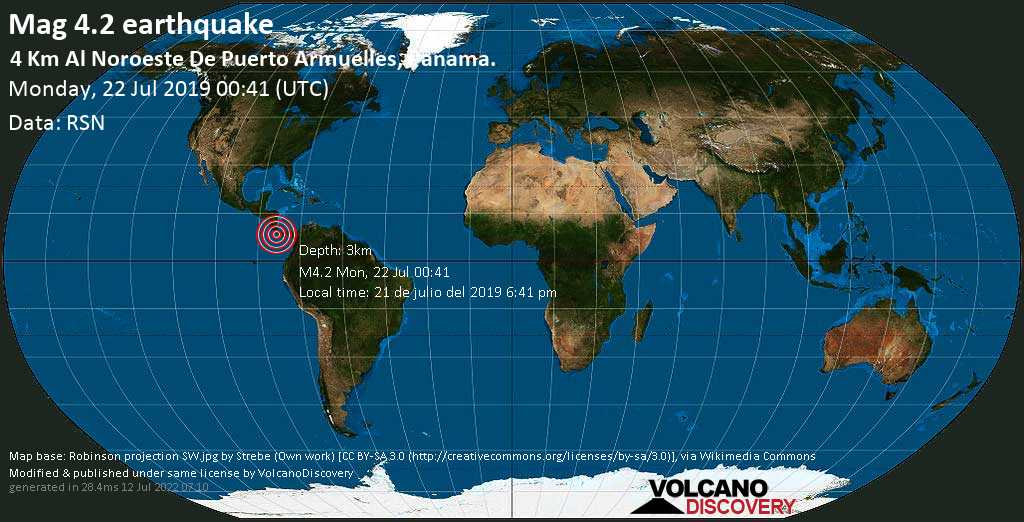 Light mag. 4.2 earthquake  - 4 km al Noroeste de Puerto Armuelles, Panama. on Monday, 22 July 2019