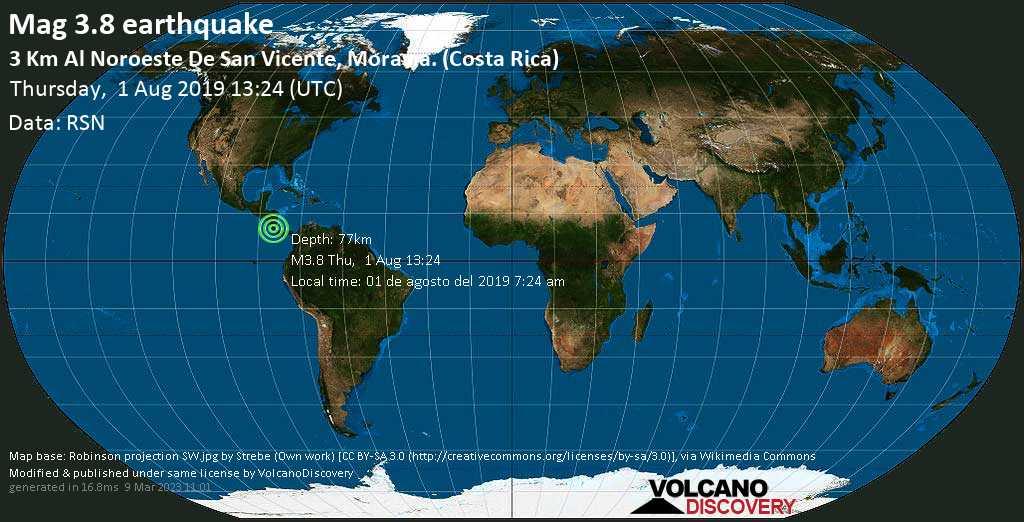 Débil terremoto magnitud 3.8 - 3 km al Noroeste de San Vicente, Moravia. (Costa Rica) jueves, 01 ago. 2019