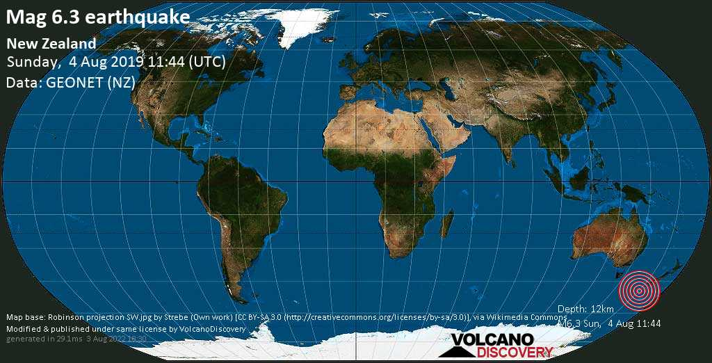 Strong mag. 6.3 earthquake  - New Zealand on Sunday, 4 August 2019