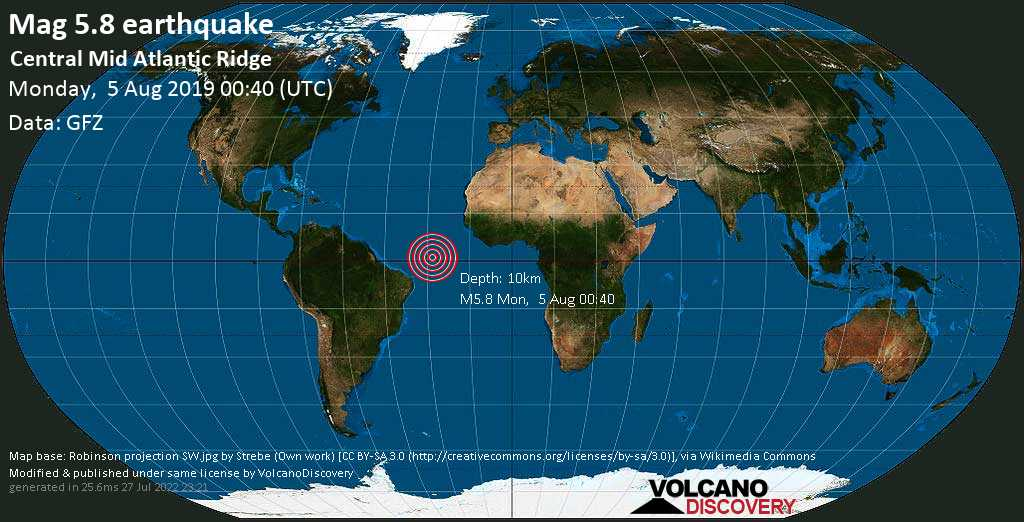 Moderate mag. 5.8 earthquake  - Central Mid Atlantic Ridge on Monday, 5 August 2019