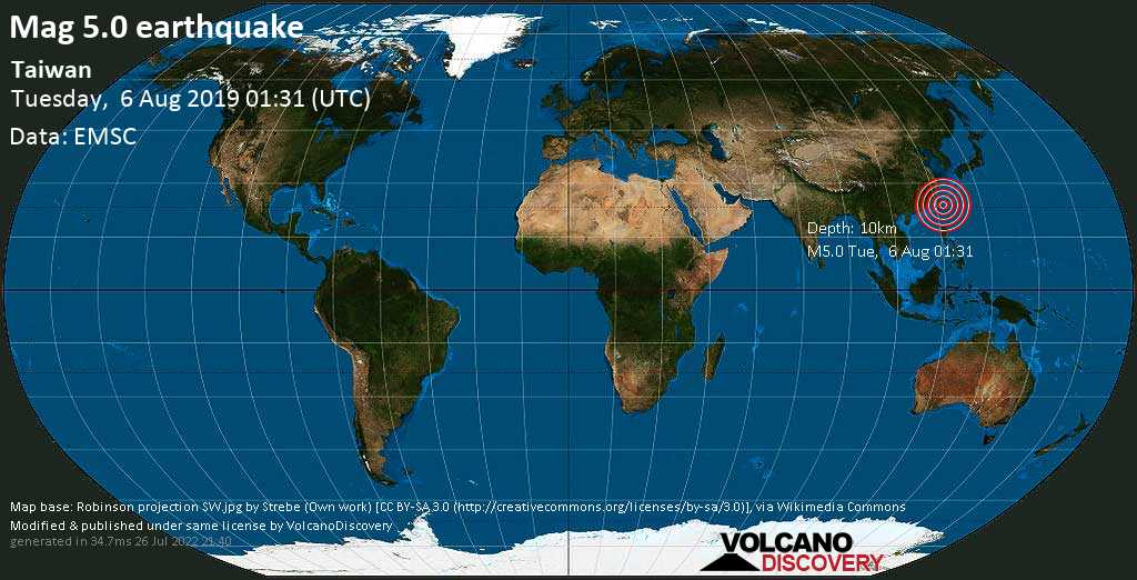Moderate mag. 5.0 earthquake  - Taiwan on Tuesday, 6 August 2019